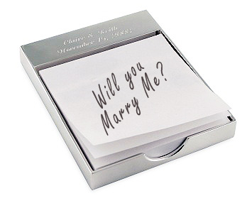 Engraved Silver Notepad Holder