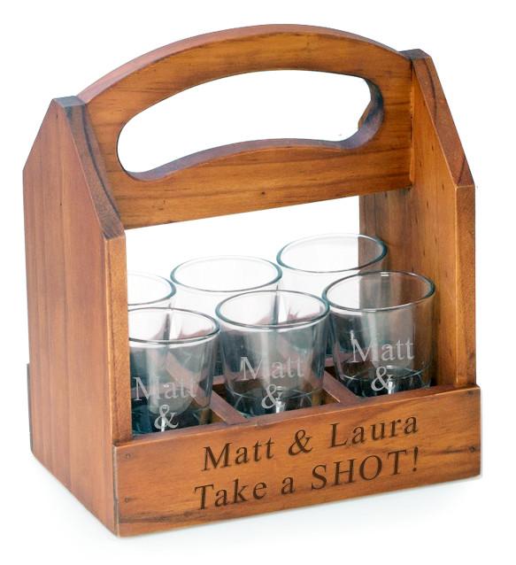 To Go Shot Glass Beverage Wood Caddy w/ 6 Shot Glasses
