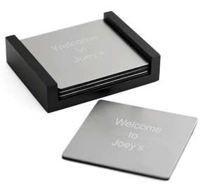 Engraved Silver Square Coasters with Black Wood Holder*