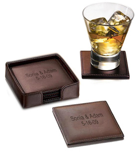 Square Brown Leather Coasters with Holder (Set of 4)