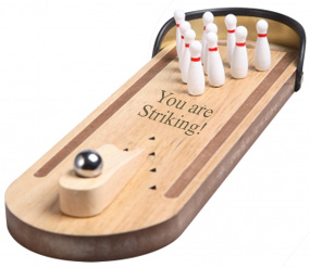 Captivating Wood Tabletop Bowling Ball And 10 Pin Game Set*