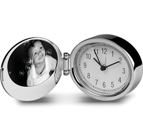 Polished Silver Oval Alarm Clock With Photo Frame