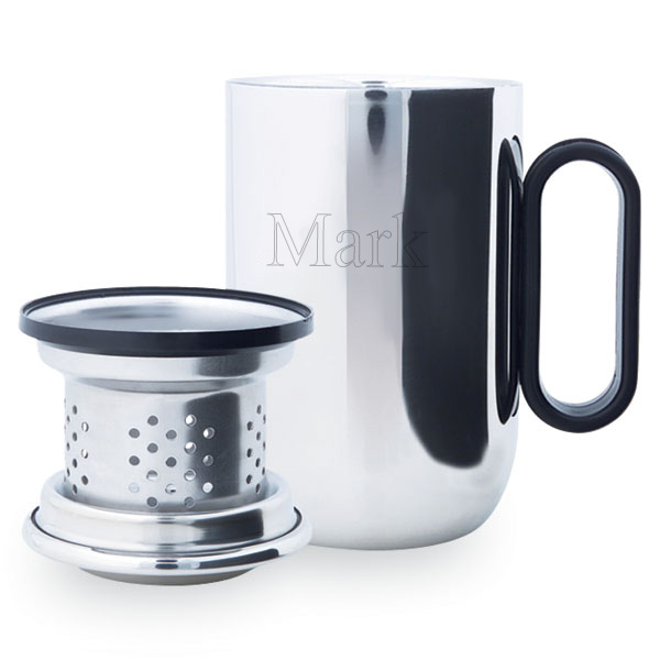 Silver Desk Mug with Strainer