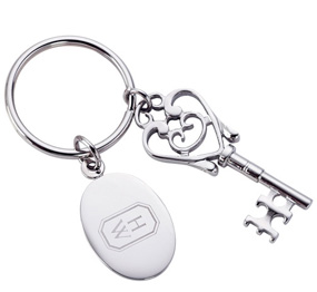 Silver Key to My Heart Keychain With Tag
