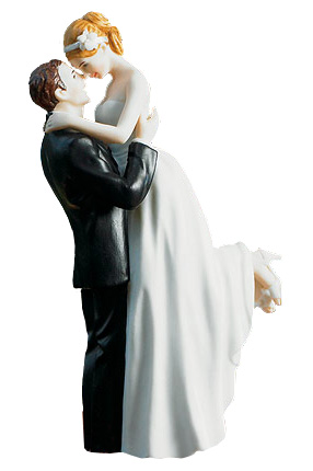 Hand Painted Classic Bride & Groom Porcelain Cake Topper
