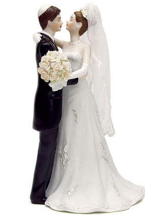 Hand Painted Jewish Bride & Groom Porcelain Cake Topper