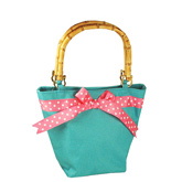 Turquoise Purse With Pink Polka Dot Bow