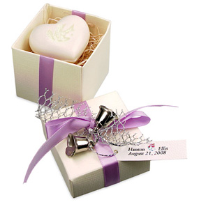 Twin Wedding Bells Heart Soap Favor Box