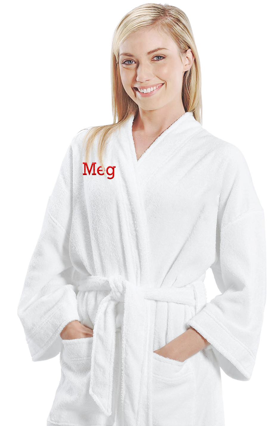 White Luxury Terry Velour Kimono Bath Robe with Pockets  HansonEllis.com 37525a695