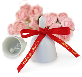White Wedding Bell Favor