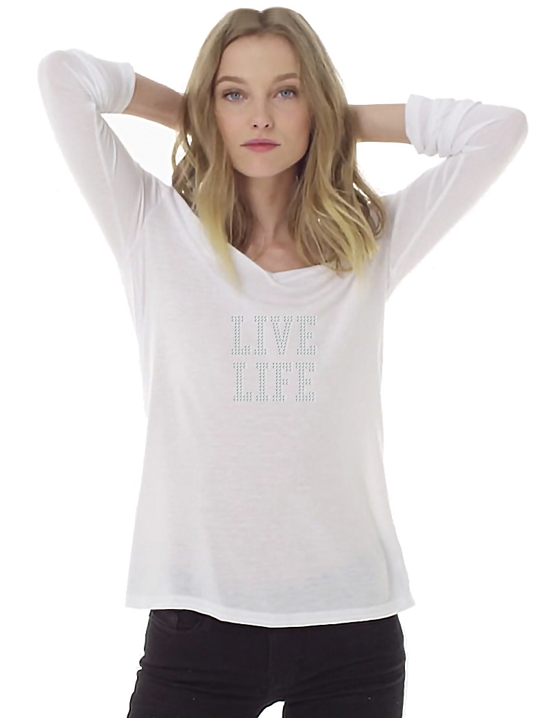 Women's White Flowy Long Sleeve V-Neck Crystal Rhinestones Shirt