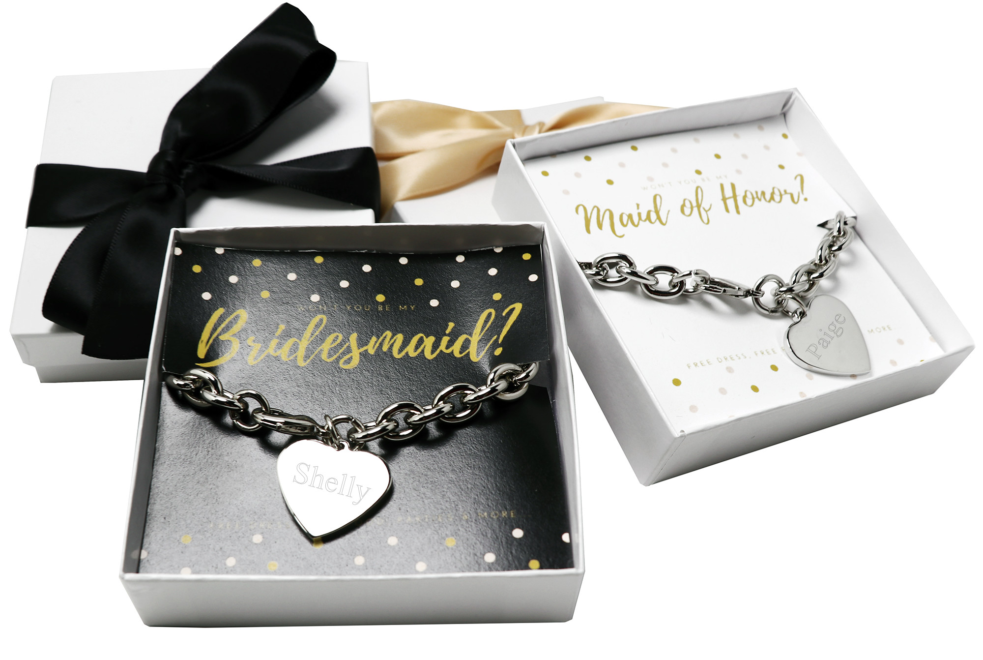 Won T You Be My Bridesmaid Maid Of Honor Silver Heart Bracelet Gift