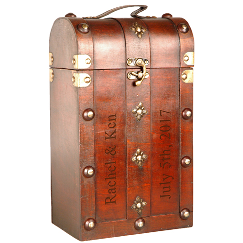 Wood Chest Double Wine Box Carrier