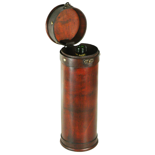 Wood Tower Round Wine Box Carrier with Open Lid  Brass Clasp