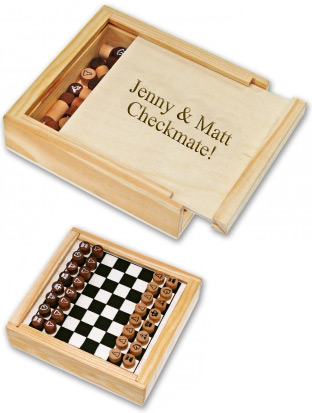 Personalized Travel Chess Set Wood Box*