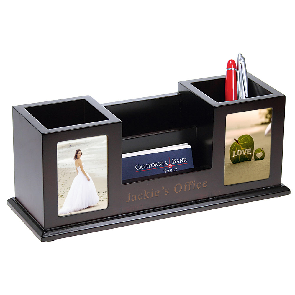 Wooden Pencil Cups With Picture Frames Card Holder Desk